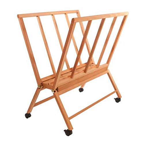 Creative Mark Firenze Wood Large Print Rack with Castors - Perfect for Display of Canvas, Art, Prints, Panels, Posters, Art Gallery Shows, Storage Rack - Natural