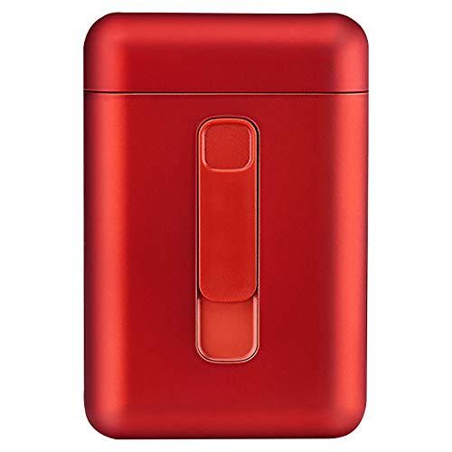 Bias&Belief Zigarettenetui mit Feuerzeug,Zigaretten Box,USB-Elektro Feuerzeug,Magnetschnallenschalter,Grosse Kapazität,für 20 Normale Zigaretten,Rot