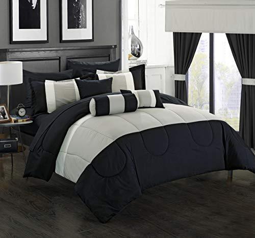 Chic Home 20 Mackenzie Complete Pieced Comforter Set, Queen, Black