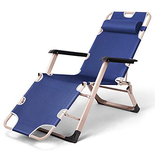 KaO0YaN Outdoor tempo libero spiaggia pieghevole sedie a sdraio, ufficio pisolino sedie con braccioli, pausa pranzo a casa singola ampliato pieghevole sedie-blu