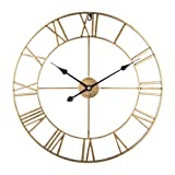 Teakpeak Reloj de Pared XL, 60cm Reloj de Pared Vintage Silencioso Grande Reloj de Pared Metalico con Número Romano Clásico Home Cafe Decor