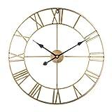 Searchyou - 60CM Relojes de Pared de Metal Grandes Silencioso Estilo Vintage Números Romanos para Salón Dormitorio Bar - (Dorado)
