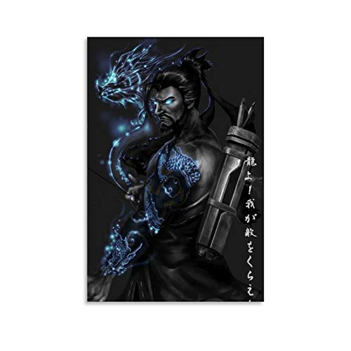 MKJH Fanart Hanzo Overwatch Posters Poster Decorative Painting Canvas Wall Art Living Room Posters Bedroom Painting 16x24inch(40x60cm)