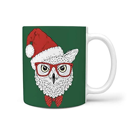 N\A Taza de café Verde del búho Animal de la Navidad Taza de cerámica Divertida para Beber Taza Presente para el compañero de Trabajo