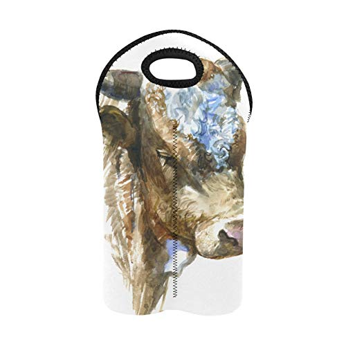Wine Tote Bag Art Cute Colorful Animal Cow Flower Wine Totes and Carriers 2 Bottle Double Bottle Carrier Wine Bags with Handles Thick Neoprene Wine Bottle Holder Keeps Bottles Prot