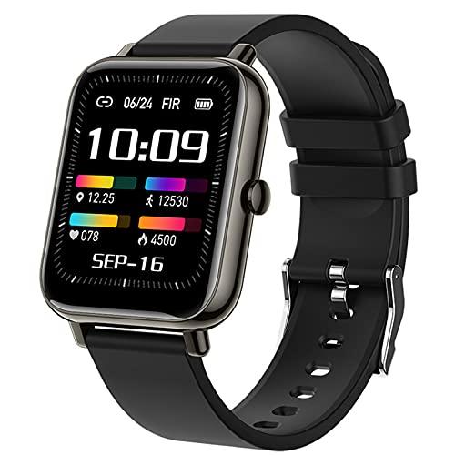 Reloj Inteligente Para Mujer Y Hombre 1.69' Reloj Inteligente Con PulsóMetro Impermeable Ip68 Reloj Deportivo Con 8 Modos Deportivos PodóMetro Control De Musica Compatible Con Ios Android,Negro