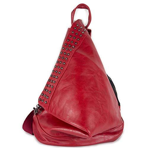 Zaino rosso borchie in ecopelle zainetto da donna ragazza tempo libero casual vintage elegante universita gita passeggio scuola ufficio lavoro primavera estate 2020 estivo primaverile fashion Rosso