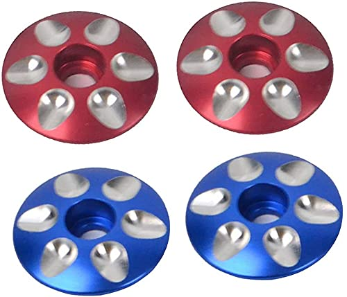 U/D El casquillo superior de la bici del camino de la aleación de aluminio cubre las piezas de recambio azul+rojo