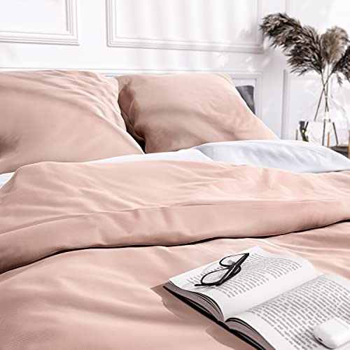 Wolkenfeld Mako Satin Bettwäsche 135x200 - 100% Baumwolle - Traumhaft weich - Bettwäsche-Set - 1x Bettdeckenbezug 135x200 + 1x Kissenbezug 80x80 - Rosa