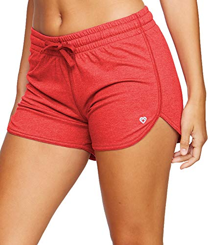 Colosseum Active Women's Simone Cotton Blend Yoga and Running Shorts (Red, Large)