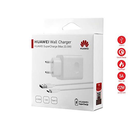 MLTrade Cargador Original Huawei AP81 Carga Rapida Supercharge (5A) Tipo C para P10, P20, Plus, Pro, Mate 10, Blister + Protector Cable