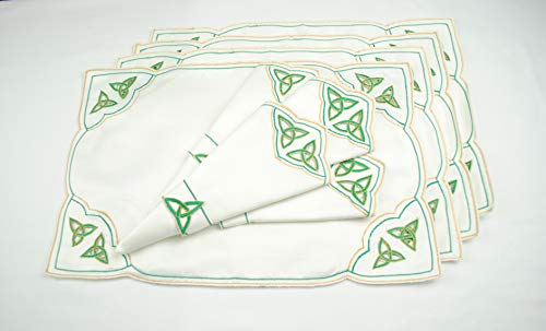 Thanksgiving Holidays Set of 4 Table Place Settings (4 Placemats/4 Napkins) in a Green Celtic Trinity Knot Design