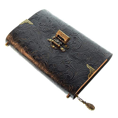 FR-POPPYZ Geprägte Muster weicher Leder-Reise-Notebook mit Sperrtaste Tagebuch Notepad Kraft