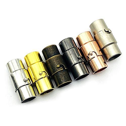 Cierre de Pulseras, 30 Pcs Hebilla Magnética de Doble Seguro, Abalorios Para Hacer Pulseras Cierres Para Pulseras Cordon Cuero Cordon De Cuero para Cuero Cuerda Collar Pulsera Hebilla(5mm)