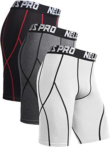 Neleus Men's 3 Pack Sport Running Compression Shorts,6012,Grey,Black (Red Stripe),White,US XL,EU 2XL