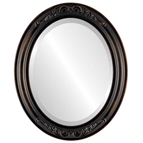 Oval Beveled Wall Mirror for Home Decor - Florence Style - Rubbed -