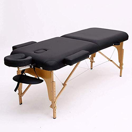 Massage bed Massage en een opklapbaar Beauty Massage PU bed met hoofdsteun en Houten Voeten, Wit, Zwart Massage Tafel Draagbare massagetafel (Color : Black)