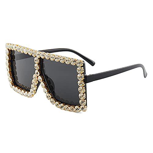 XINMAN Gafas De Sol De Montura Grande De Moda Gafas De Diamante De Personalidad Tendencia Gafas De Sol De Sombrilla De Montura Grande Y Fresca Montura Negra Diamante Negro