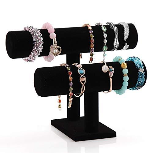 Powerking Black Velvet Bracelett & Necklace T-Bar 2 Tier Jewelry Display (black)