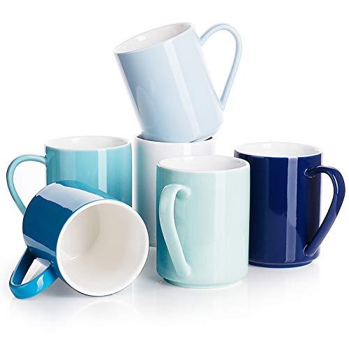 Sweese 603.003 6er Set Kaffeebecher aus Porzellan, 350 ml, Tasse mit großem Henkel für Heißgetränke, Blaue Serie