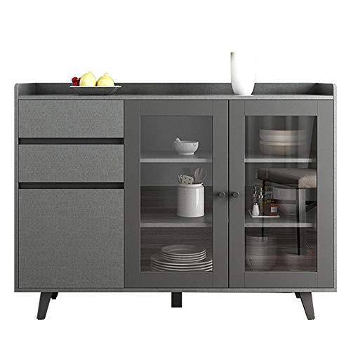 Credenza moderna nera con 2 cassetti e 3 ante, armadietti in legno per soggiorno, sala da pranzo e corridoio (solo armadio)