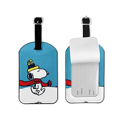 Snoo-py Etiquetas de equipaje de viaje Etiquetas de equipaje de equipaje Etiquetas de maleta Titular de tarjeta de visita para viaje de negocios, etiqueta de equipaje de microfibra de piel sintética