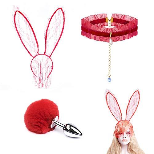 Fascia per capelli sexy in pizzo rosso con fascia per capelli con orecchie da coniglio dolce e coda di coniglio Ań-ãl P-lúg catena con strass per accessorio per costume cosplay festa di Halloween