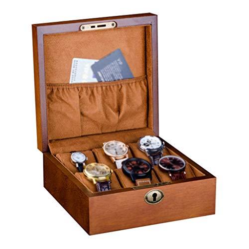 FCSFSF Caja de Reloj-6 Ranuras Exhibidor de joyería Estuche de Almacenamiento Bandeja de Pulsera Madera 6 Almohadas de Terciopelo extraíbles y Cerradura de Metal con Cerradura