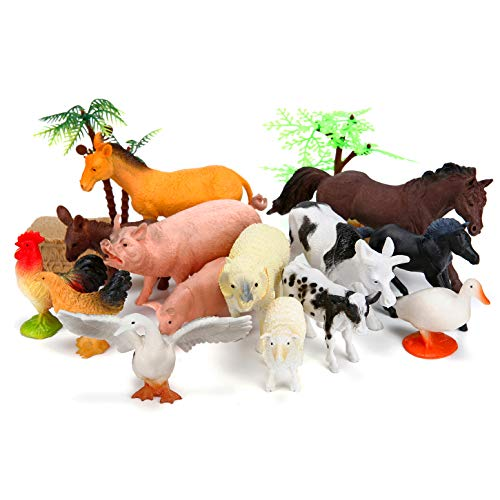 Farm Animals Figures Toys, 26PCS Realistic Jumbo Plastic Farm Figurines Playset Includes Fences, Learning Educational Toys for Boys Girls Toddlers Bath Cupcake Topper Birthday Set