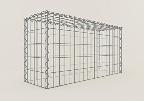 GABIONA Steinkorb-Gabione eckig, Maschenweite 5 x 10 cm, Tiefe 30 cm, Anbau-Korb Typ 3, Spiralverschluss, galvanisch verzinkt (100 x 50 x 30 cm)