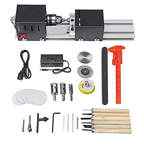 ETE ETMATE 200W Mini Lathe Beads, DIY Wood working Wood Lathe Milling Machine DIY Grinding Polishing Beads Drill Rotary Tool Set Lathe Standard Set