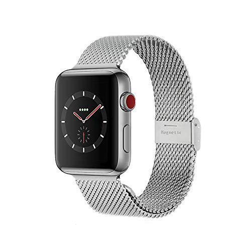Compatible with Apple Watch Band 38MM 40MM 42MM 44MM, Stainless Steel Milanese Loop Band with Adjustable Magnetic Clasp for 2019 Watch Series 5/4/3/2/1,Silver 44mm/42mm