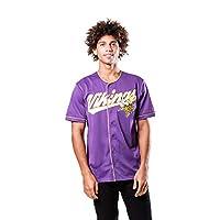 Ultra Game NFL Minnesota Vikings Mens Mesh Baseball Jersey Tee Shirt, Team Color, X-Large