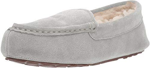 Amazon Essentials Women's Leather Moccasin Slipper, Light Grey, 9 M US