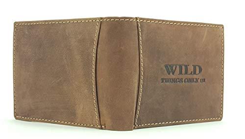 Herren Geldbörse Portemonnaie Geldbeutel Leder WILD Things Only!!! Querformat, Farbe:Braun