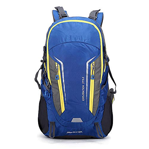 YMXLJJ Waterproof Wear-Resistant Outdoor Mountaineering Sports Bag, Travel Daypack Riding Backpack for Men And Women, Hiking Shoulder Student Camping Cycling Climbing 40L,Blue