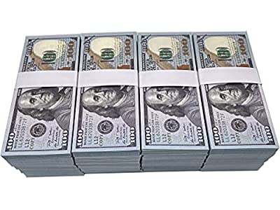 100PCS One Stack 100 Prop Money Full Print 2 Sided Motion Picture Money Face Money Dollar Bills Realistic Money Stacks,Copy Money Play Money That Looks Real for Movie, TV, Videos by IBELIY