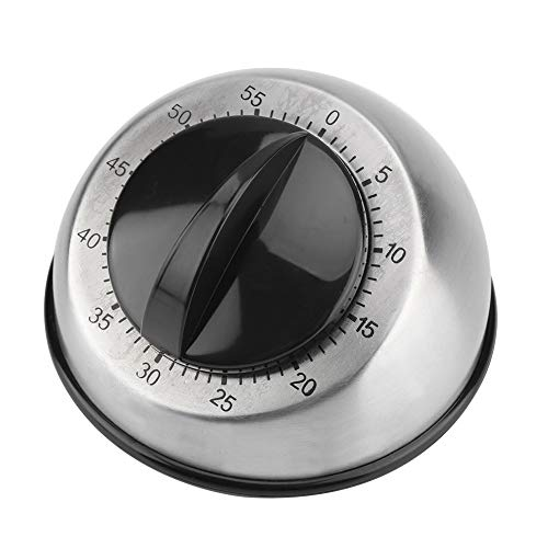 Wallfire 60 Minutes Stainless Steel Kitchen Timer Mechanical Wind- Up Timer Time Reminder Cooking Ring Clock Countdown Timer Quiet Counting Loud Alarm Sound For Adults Kitchen Cooking