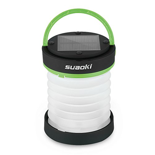 SUAOKI Led Camping Lanterns for Lighting (Powered by Solar Panel and USB Charging) Collapsible Flashlight for Outdoor Hiking Tent Garden (Emergency Charger for Phone, Water-Resistant)