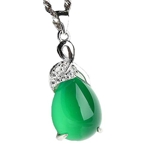 ZHIBO Fashion - Collar de Plata 925 con Colgante de calcedonia Verde Natural para Mujer