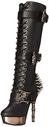 Demonia Damen MUERTO-2028 Kurzschaft Stiefel, Schwarz (Schwarz (Blk Vegan Leather/Pewter Chrome), 37