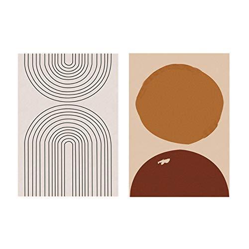 Moderno Estilo Bohemio Minimalista Abstracto Lienzo Pintura Cartel impresión Pared Arte Imagen para Dormitorio Interior decoración del hogar - (70x90cm) x2pcsSin Marco