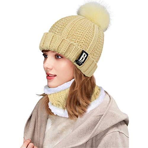 Yuson Girl Conjunto de gorro y bufanda de punto, forro polar de invierno, forro de lana Beanie Hat, calentadores de cuello para mujeres (Caqui)