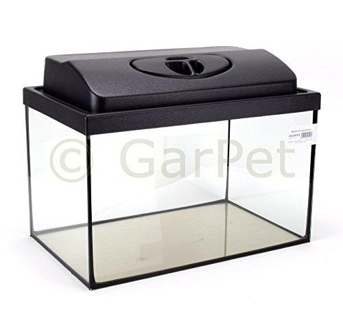GarPet Aquarium rechteckig mit Abdeckung inkl. LED Beleuchtung im Set (40x25x25 + Abdeckung LED)