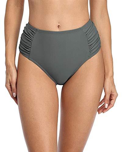 CharmLeaks Calzoncillos de natación de cintura media para mujer, parte inferior de bikini sólido