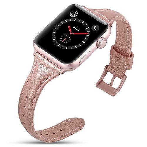 Firsteit Compatible con Apple Watch Band 38/40/42/44 mm Mujeres Niña Cuero Genuino Lujo Delgado Moda Pulseras de Reemplazo Correa para iWatch SE Series 6/5/4/3/2/1 (Rosa Rojo, 38mm/40mm)