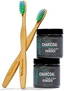 2 Jars Whitening Tooth Powder with Activated Charcoal for Teeth & Gums (Refreshing Spearmint) +2 Eco-Friendly Biodegradable Bamboo Toothbrush - Safe on Enamel, Detoxifying, Plant-based & Cruelty Free