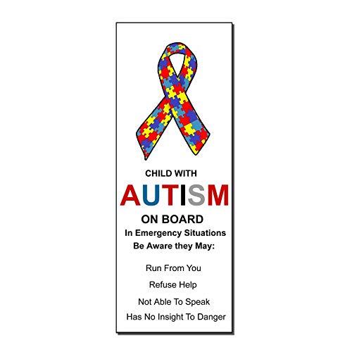 CELYCASY calcomanía de advertencia para niño autista a bordo con autismo de seguridad Mod33