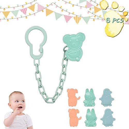 Saugerkette Schnullerkette mit Clip Befestigung von Schnullern mit Ring mit Clip zur sicheren Befestigung des Schnullers an Baby's Kleidung (6)