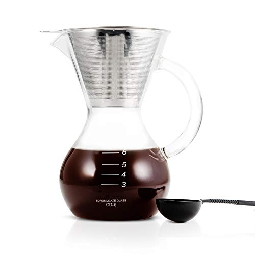 Yama Glass Pour Over Coffee Maker I Comes With Reusable Stainless Steel Cone Filter I Durable, Heat Resistant Borosilicate Glass Carafe I Handle Version, Large Capacity 30oz